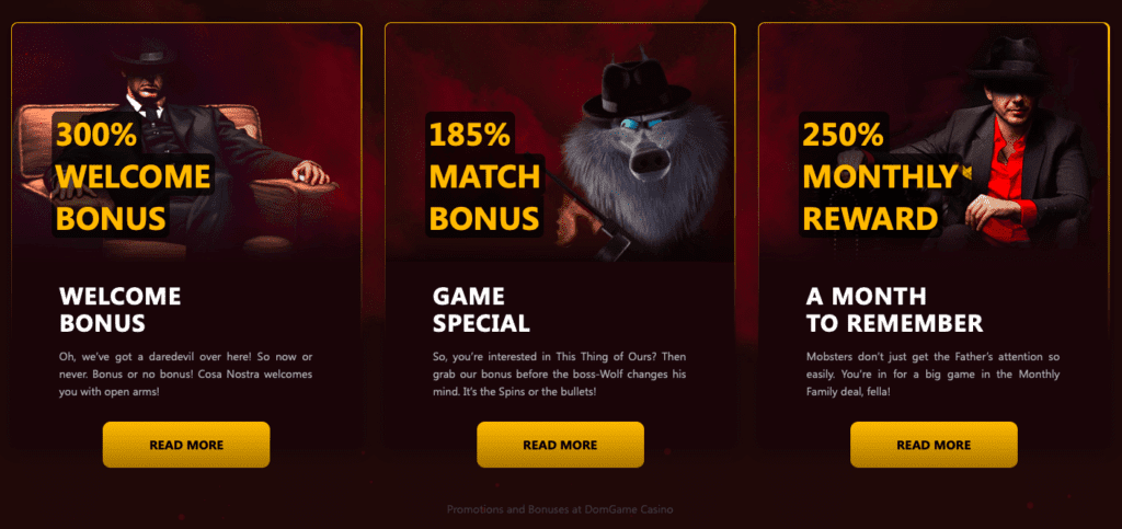 DomGame Casino bonus offers and promotions