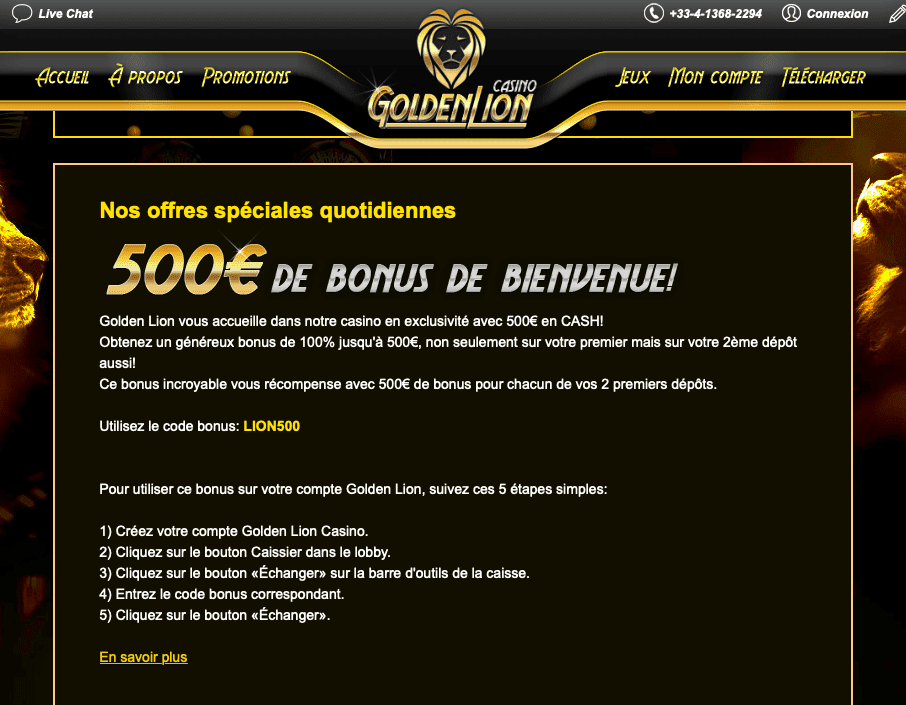 Golden Lion Casino bonus offers and promotions