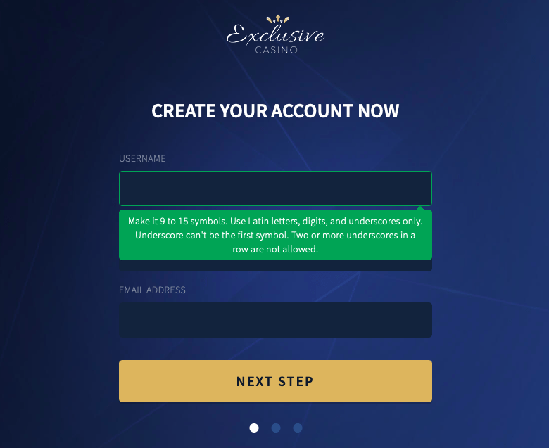 Exclusive Casino registration form