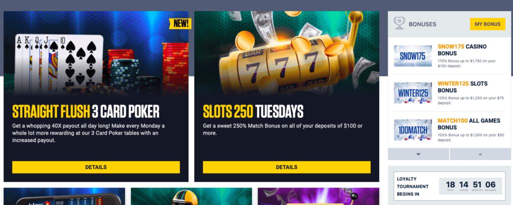 BetUS online casino bonus offers and promotions