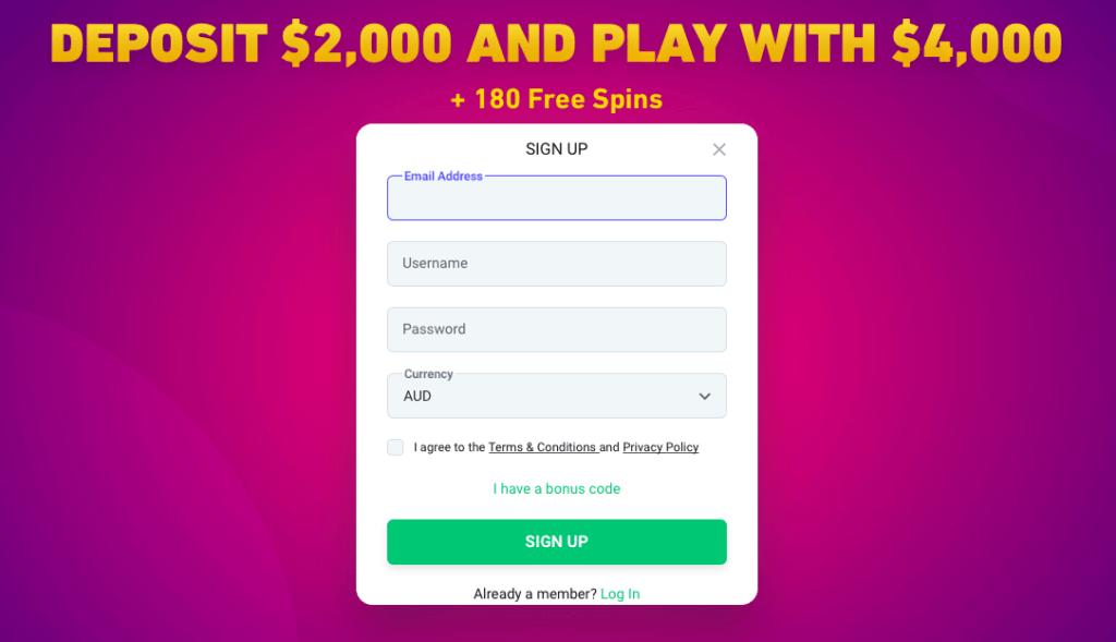 Registration process at BitStars online casino