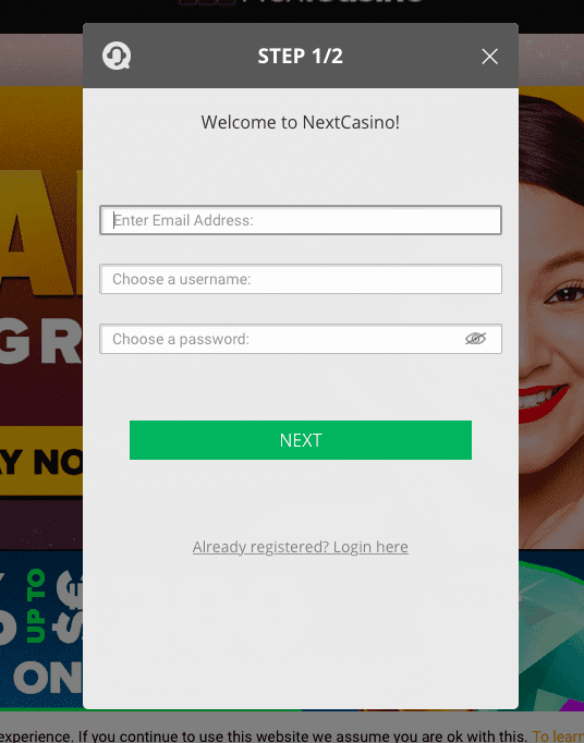 NextCasino registration process