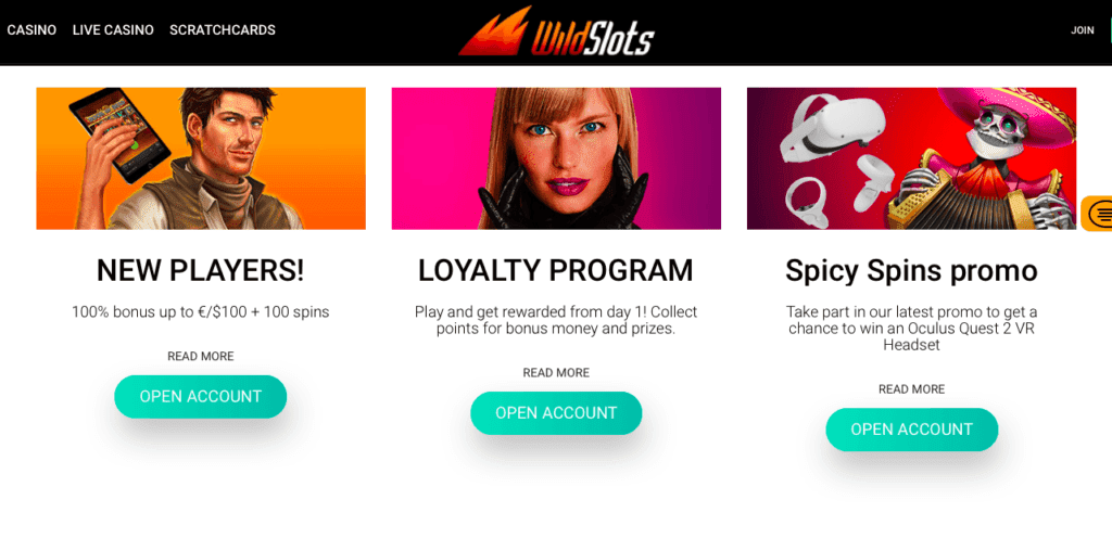 WildSlots casino bonus offers and other promotions
